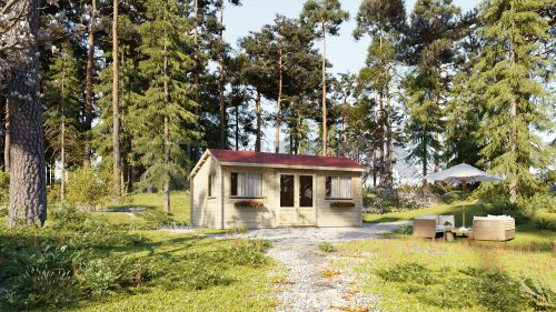 ONE BED TYPE D LOG CABIN 6m X 4.2m 1