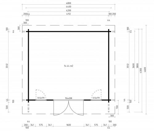 GREYSTONES LOG CABIN 4.4m X 3.8m 3
