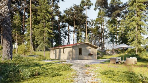 BUDGET TWO BED A LOG CABIN 6m x 8m 1