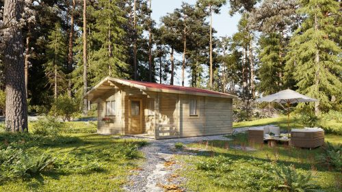 BUDGET TWO BED B LOG CABIN 6m x 6m 1