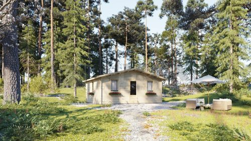 BUDGET ONE BED B LOG CABIN 6m x 6m 1