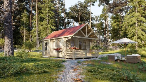 TWO BED TYPE D LOG CABIN 4.5m X 6m 1