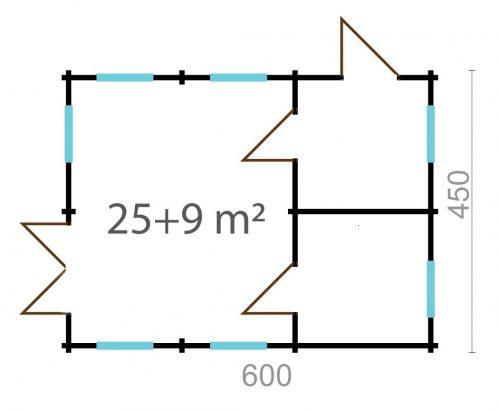 LOFT LOG CABIN B 6m X 6m 4