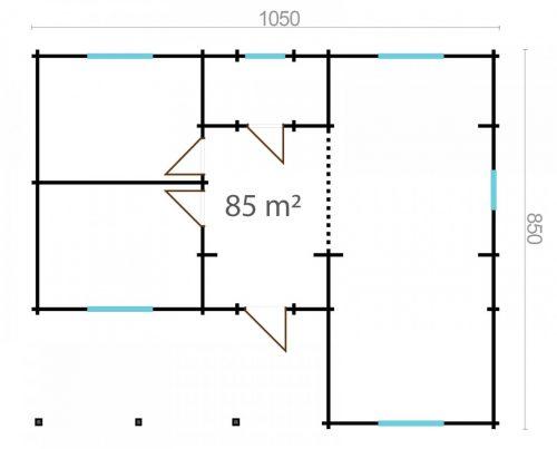 THREE BED TYPE A LOG CABIN 8.5m x 10.5m 6