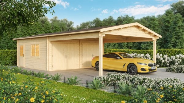 DOUBLE GARAGE AND CARPORT 44 for 4 vehicles | 10.6m x 5.3m (35' x 19' 6'') 44mm 1