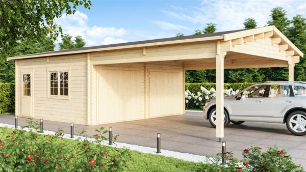 DOUBLE GARAGE AND CARPORT 44 for 4 vehicles | 10.6m x 5.3m (35' x 19' 6'') 44mm 2