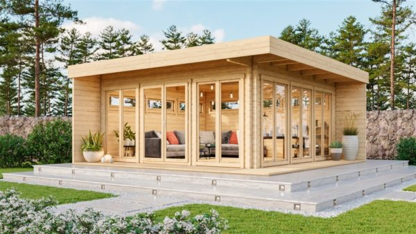 Contemporary wooden cabin MELANY 44 | 6 m x 6 m (19'8'' x 19'8'') 44mm 1