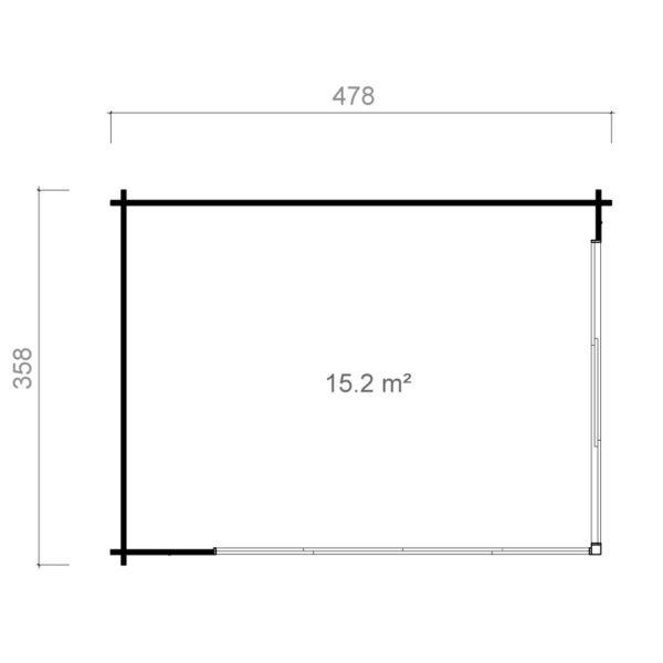 Simple garden room ALU Concept A 44 | 4.8 x 3.6 m (15'7'' x 11'7'') 44 mm 11