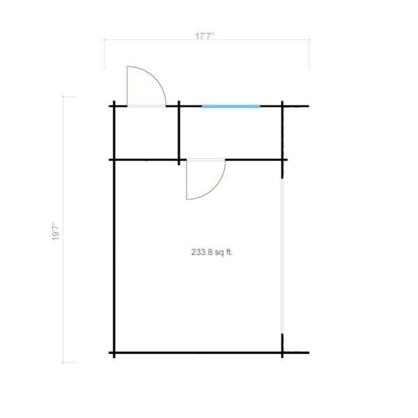 3-room modern wooden cabin ALU Concept B 44 | 4.8 x 6 m (17'7'' x 19'7'') 44 mm 10