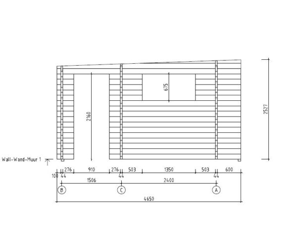 Wooden cabin with 3 rooms ALU Concept 70 B | 4.8 x 6 m (17'7'' x 19'7'') 70 mm 6