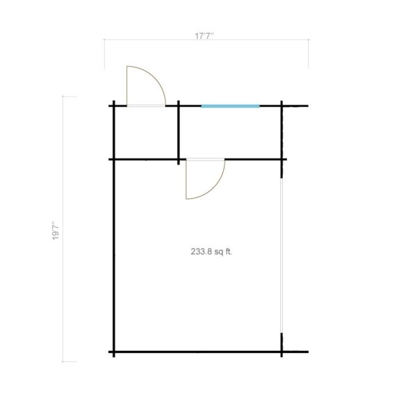 Wooden cabin with 3 rooms ALU Concept 70 B | 4.8 x 6 m (17'7'' x 19'7'') 70 mm 7