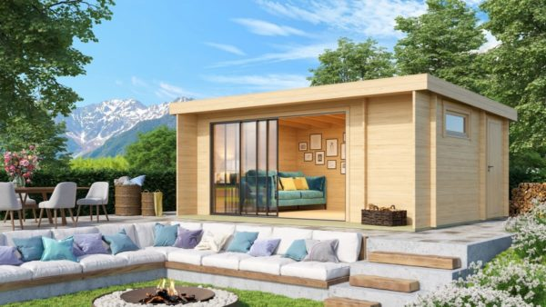 Wooden cabin with 3 rooms ALU Concept 70 B | 4.8 x 6 m (17'7'' x 19'7'') 70 mm 1