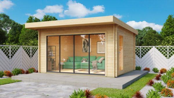 Compact garden room with sliding doors ALU Concept 70 E | 4.1 x 4.4 m (13'5'' x 14'5'') 1