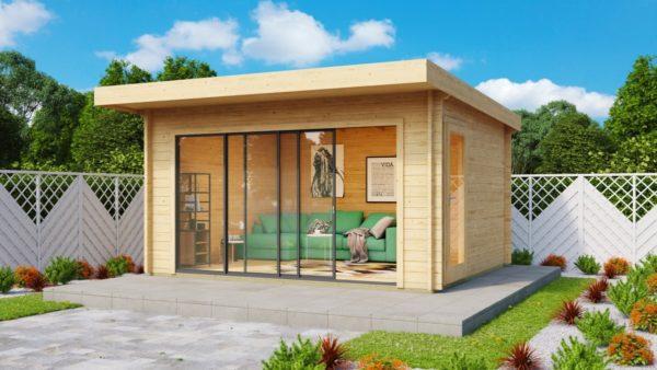 Compact garden room with sliding doors ALU Concept 70 E | 4.1 x 4.4 m (13'5'' x 14'5'') 2