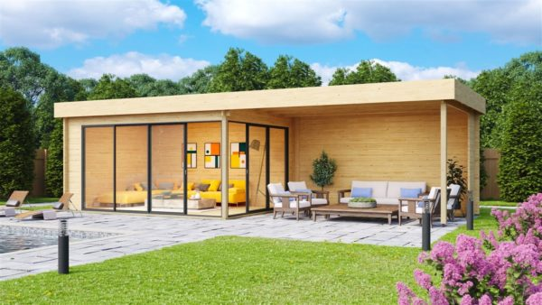 Garden room with a large covered terrace ALU Concept 70 A + TC | 9.4 x 3.7 m (30'11'' + 12'1'') 70 mm 1