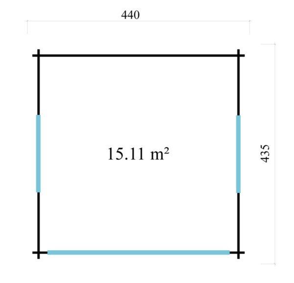 Compact garden room with glazed wall ALU Concept JARA 44 A   4.4 x 4.4 m (14'4'' x 14'2'') 7