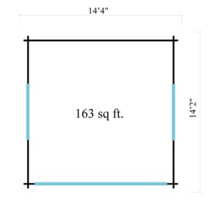Compact garden room with glazed wall ALU Concept JARA 44 A   4.4 x 4.4 m (14'4'' x 14'2'') 10