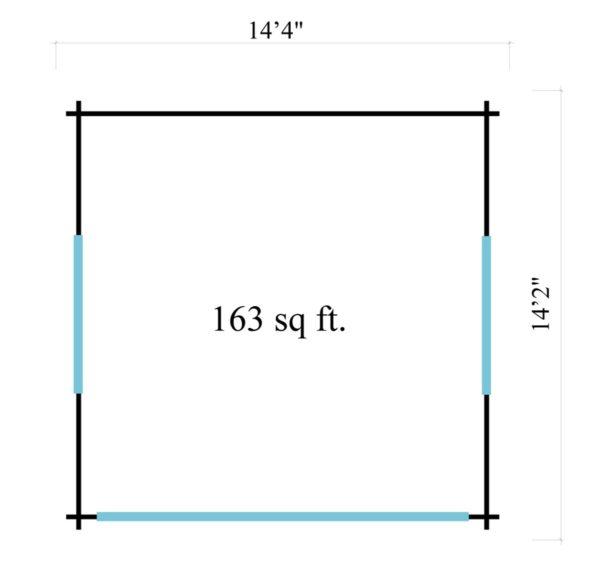 Compact garden room with glazed wall ALU Concept JARA 44 A   4.4 x 4.4 m (14'4'' x 14'2'') 8