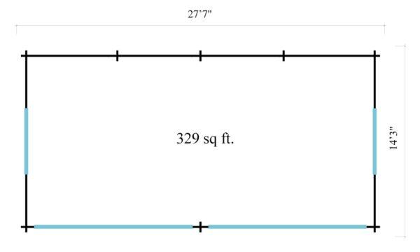 Open plan garden annexe ALU Concept Jara 70 B   8.4 x 4.4 m (27'7'' x 14'3'') 70 mm 7