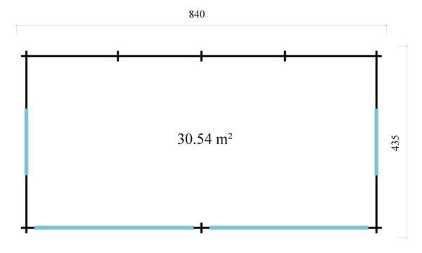 Open plan garden annexe ALU Concept Jara 70 B   8.4 x 4.4 m (27'7'' x 14'3'') 70 mm 6