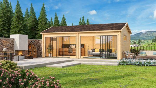 Open plan garden annexe ALU Concept Jara 70 B   8.4 x 4.4 m (27'7'' x 14'3'') 70 mm 1