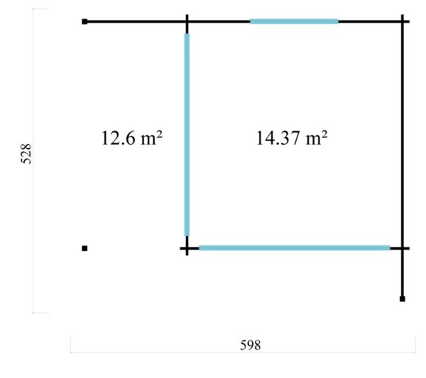 Corner garden room ALU Concept RELAX 70 A | 6 x 5.3 m (19'7'' x 17'4'') 70 mm 6
