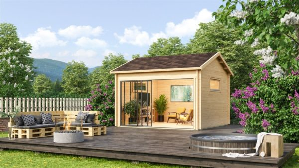 Compact garden room with glazed wall ALU Concept JARA 44 A   4.4 x 4.4 m (14'4'' x 14'2'') 1