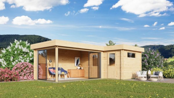 Two-room wooden cabin ALU Concept N 70 | 8 x 5 m (26'3'' x 16'4'') 70 mm 1