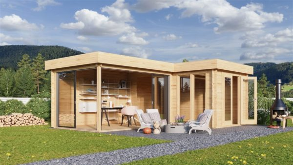 Corner garden cabin ALU Concept QUINTA 44   6.8 x 4.8 m (22'4'' x 15'9'') 44 mm 1