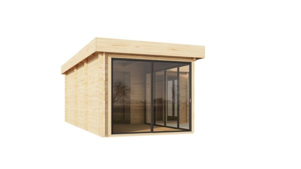 Corner garden cabin ALU Concept QUINTA 44 | 6.8 x 4.8 m (22'4'' x 15'9'') 44 mm 6