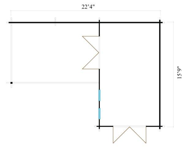 Corner garden cabin ALU Concept QUINTA 44   6.8 x 4.8 m (22'4'' x 15'9'') 44 mm 8
