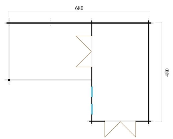 Corner garden cabin ALU Concept QUINTA 44 | 6.8 x 4.8 m (22'4'' x 15'9'') 44 mm 9