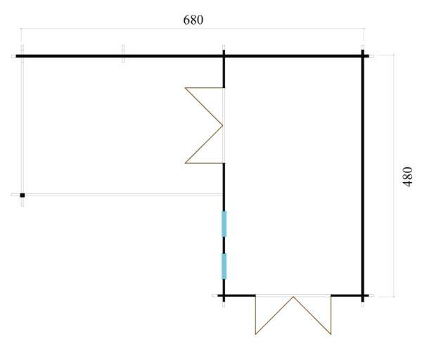 Corner garden cabin ALU Concept QUINTA 44   6.8 x 4.8 m (22'4'' x 15'9'') 44 mm 9