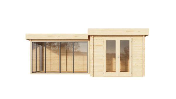 Corner log cabin ALU Concept QUINTA 70 | 6.8 x 4.8 m (22'4'' x 15'9'') 70 mm 2