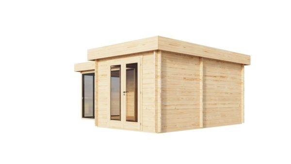 Corner log cabin ALU Concept QUINTA 70 | 6.8 x 4.8 m (22'4'' x 15'9'') 70 mm 3
