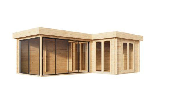 Corner log cabin ALU Concept QUINTA 70 | 6.8 x 4.8 m (22'4'' x 15'9'') 70 mm 7