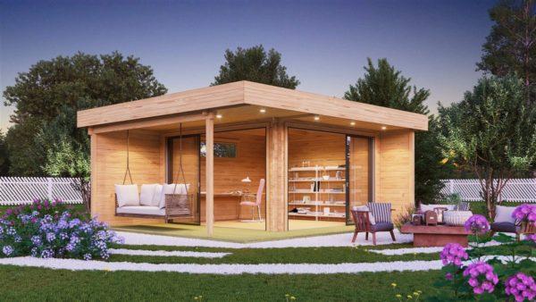 Modern garden room ALU Concept RELAX 44 A | 6 x 5.3 m (19'7'' x 17'4'') 44 mm 1