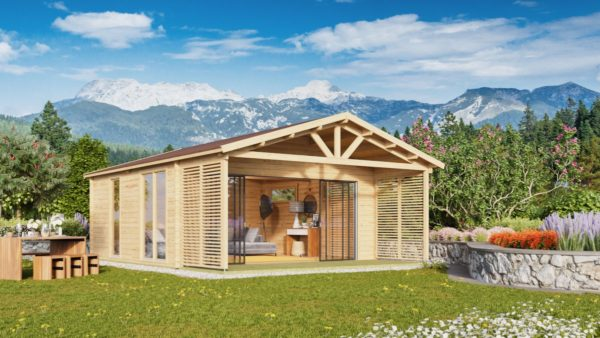 Log cabin ALU Concept AROSA C 44 | 6.2 x 8.3 m (20'3'' x 27'2'') 44mm 1