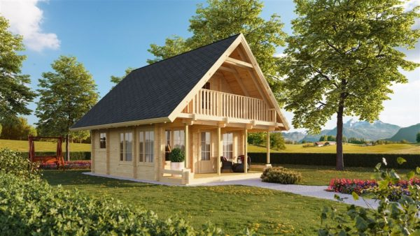 A classical 2-storey log house ANDERS 90 | 8.2 m x 5.5 m (26'10'' x 18') 90 mm 1