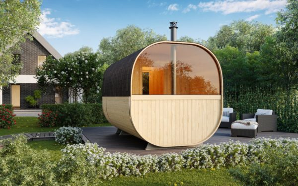 1-room barrel sauna with a terrace ANTE | Ø 240 cm x 270 cm (Ø 7'10'' x 8'10'') 3