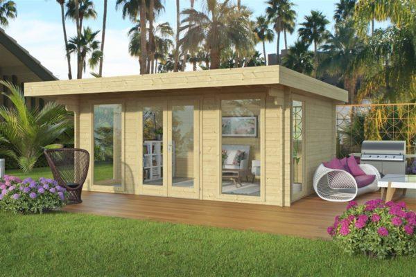 Small and sturdy garden office BARBARA 70 B | 4.8 x 3.6 m (15'9'' x 11'10'') 70 mm 1