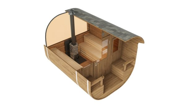 1-room barrel sauna with a terrace ANTE | Ø 240 cm x 270 cm (Ø 7'10'' x 8'10'') 4
