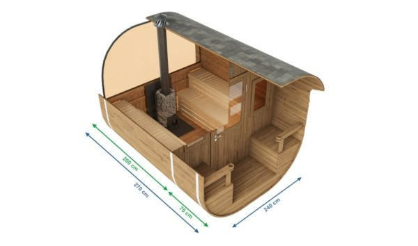 1-room barrel sauna with a terrace ANTE | Ø 240 cm x 270 cm (Ø 7'10'' x 8'10'') 5