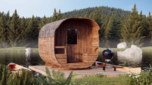1-room barrel sauna with a terrace ANTE | Ø 240 cm x 270 cm (Ø 7'10'' x 8'10'') 1