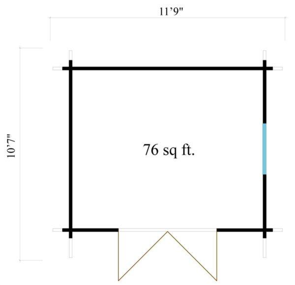Simple modern garden shed BARUDA 44 | 3.6 x 3.3 m (11'9'' x 10'7'') 44 mm 8