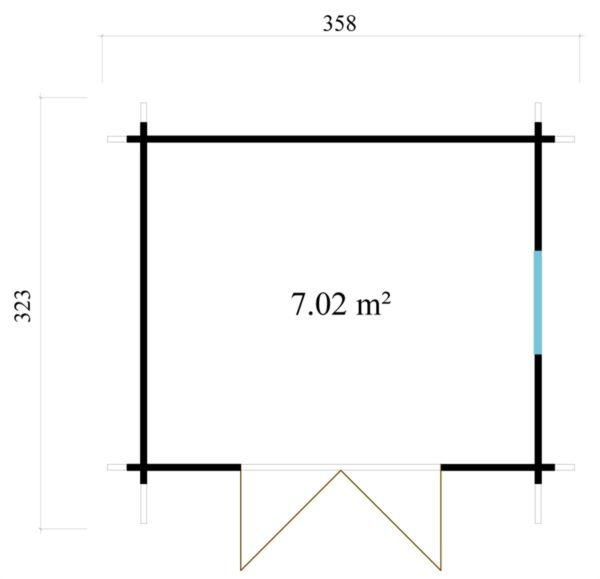 Simple modern garden shed BARUDA 44 | 3.6 x 3.3 m (11'9'' x 10'7'') 44 mm 9
