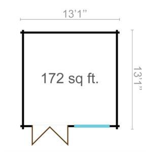 Simple garden shed BRIDGET 44 | 4 x 4 m (13'1'' x 13'1'') 44 mm 10