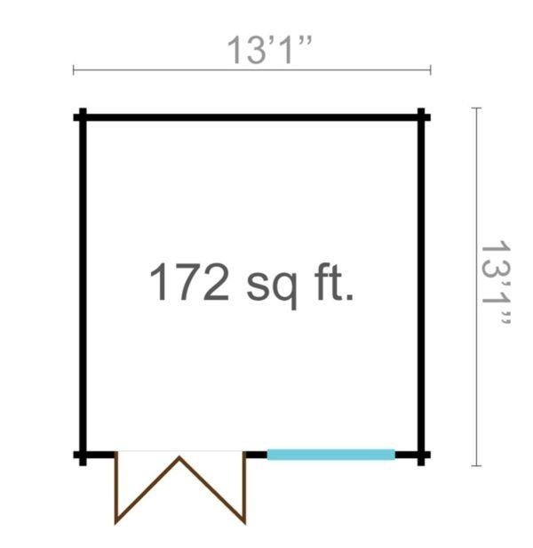 Simple garden shed BRIDGET 44 | 4 x 4 m (13'1'' x 13'1'') 44 mm 7