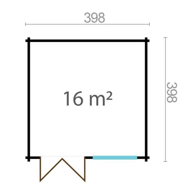 Simple garden shed BRIDGET 44 | 4 x 4 m (13'1'' x 13'1'') 44 mm 8