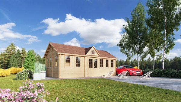 Wooden summer house Clockhouse BRISTOL 44 | 4.4 x 8.2 m (14'5'' x 26'11'') 44 mm 1